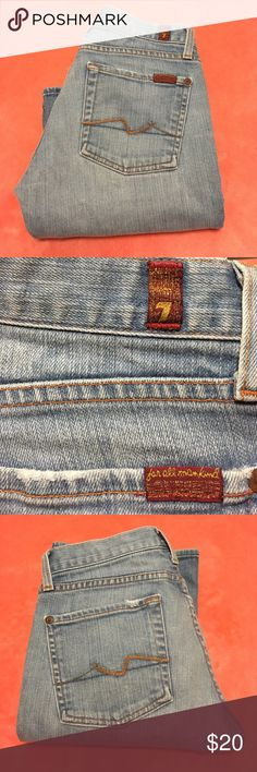 7 For All Mankind light-wash bootcut jeans size 28 Great 7 For All Mankind jeans. Light blue wash, boot cut. Vintage feel. Style#: U075182U-182U Cut#: 702838 Selling as is which is really great condition. Thank you for looking. 7 For All Mankind Jeans Boot Cut