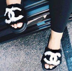 Sock Shoes, Shoe Boots, Shoes Heels, Fur Sliders, It Goes On, Chanel Fashion, Shoe Closet, Shoe Game, Me Too Shoes