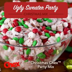 A sweet holiday snack mix finished with a dusting of powdered sugar and inspired by an ugly sweater party. Chex™ cereal, marshmallows and pretzel twists are coated in vanilla almond bark and sprinkles and tossed with holiday-colored chocolate candies. Christmas Mix, Christmas Party Food, Christmas Appetizers, Christmas Sweets, Christmas Cooking, Christmas Puppy Chow, Christmas Cupcakes, Christmas Foods, Christmas Trash Recipe