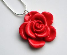Rose Flower Necklace, Polymer Clay, Fimo, Red, Jewellery, Floral