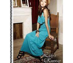 Elegant Flounced Lace Back Hollow-out Long Dress Blue