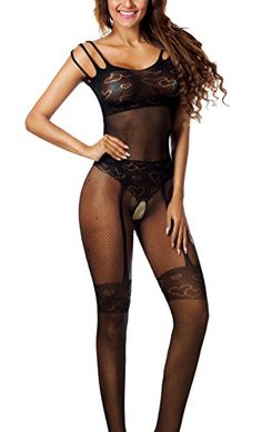 488ffdf07b0 Freemale Womens Sexy Open Crotch Fishnet Bodystocking Bodysuit Tights  Lingerie (Free Size