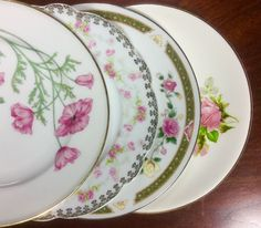 4 Mismatched China SALAD PLATE Wedding,Shower,Tea Party, Sunday Brunch