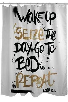 Oliver Gal by One Bella Casa Seize the Day Black Gold Shower Curtain by Lightning E-Commerce on @HauteLook