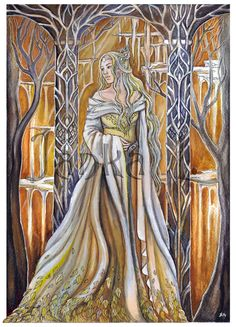 Original Illustration - Queen of Mirkwood by JankaLart on Etsy #elves #Tolkien