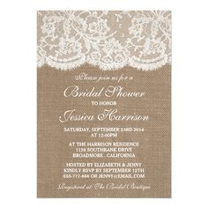 Rustic Burlap and Vintage White Lace Bridal Shower Card