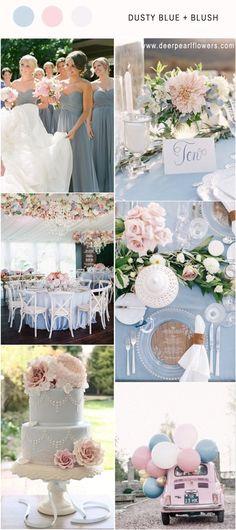 Elegant Dusty Blue and blush wedding color ideas