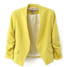 Collarless Plain Ruched Sleeve Blazer ($30) ❤ liked on Polyvore featuring outerwear, jackets, blazers, collarless jackets, yellow blazer, yellow blazer jacket, three quarter sleeve blazer and blazer jacket