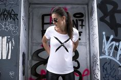 Ridley White Shattered Cross T-shirt | Urban Gilt | Free Worldwide Delivery