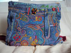 TINY DANCER Embroidered Upcycled Denim by JaneCohenArtfulBags, $190.00