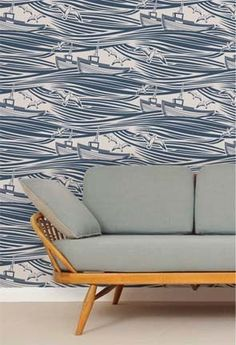 Coastal/Nautical Interior Design - To get this #contemporary #nautical look it's as easy as installing imaginative wallpaper! It is a bold statement therefore the rest of the room should be kept simple, otherwise this space would be overly busy. You don't need to live next to the ocean in order to create this design style. Quite the contrary!