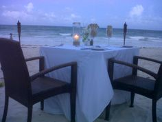 Romantic Dinner set up on the beach