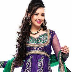 #Purple Net #Anarkali #Churidar Kameez With Dupatta