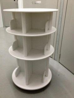 White Rotating Bookcase On Wheels