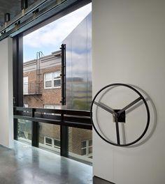 Operable art doors open w/ hand wheel at Art Stable; Tom Kundig