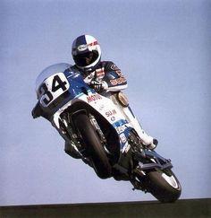 Schwantz-y getting all crossed up on a RG500 2-stroke GP bike (around 1986?). #fireitup @MotoFire