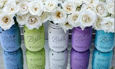 Rustic Hand Painted Mason Jars  Beautiful colors ...look great with those white petals