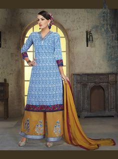 Blue Cotton Palazzo Style Suit 70485
