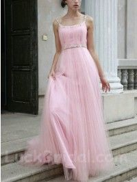 Cute Square Sleeveless Beading Dress Pearl Pink Organza Prom Gown