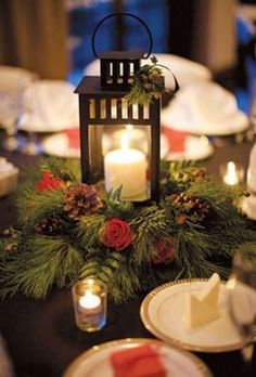 THIS IS PERFECT : Winter Wedding Flowers. Wedding centerpiece of lanterns, pine boughs, roses, and pinecones by Grapevine Floral Company Browse more winter wedding centerpieces. Winter Wedding Centerpieces, Lantern Centerpiece Wedding, Winter Wedding Flowers, Wedding Lanterns, Centerpiece Decorations, Christmas Centerpieces, Flower Bouquet Wedding, Wedding Table, Christmas Decorations
