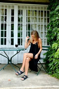 birkenstocks and black slip dress