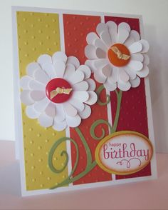 """Stamps - Perfect Punches; Card stock - Daffodil Delight, Tangerine Tango, Real Red, Pear Pizzazz, Whisper White; Ink - Real Red, Tangerine Tango; Accessories - wide oval punch, 1 3/4"""" & 2 3/8"""" scallop circle punches, SU buttons, Daffodil narrow taffeta ribbon, sponge dauber, mini glue dots; Sizzix - Perfect Polka dot embossing folder, Swirly Decorative Strip die, Big Shot"""