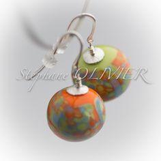 Stéphane OLIVIER  Murrini Hollow glass beads earrings and silver Boucle oreille Murine de verre et argent Spool-2