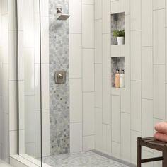 Milliken choice Master Bathroom Shower, Small Bathroom, Bathroom Ideas, Bathroom Organization, Master Bathrooms, Bathroom Storage, Master Bath Tile, Master Master, Modern Bathroom Tile