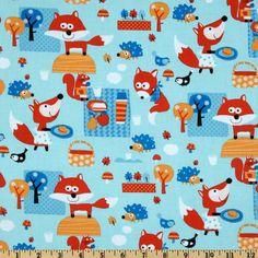 Timeless Treasures Woodland Picnic Blue - Discount Designer Fabric - Fabric.com