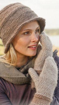 Hæklet hat med fint mønster i 100% uld | Varme vanter i 100% uld | Hækleopskrifter til lune sager