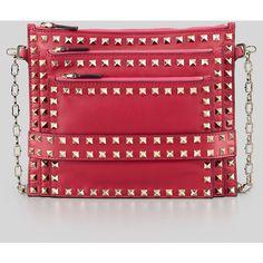 Valentino Rockstud Triple-Zip Crossbody Bag, Bright Pink
