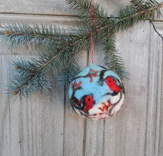 Christmas tree ornament large felted Christmas ball от filcAlki
