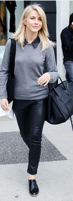 Who made  Julianne Hough's black tote handbag and leather skinny pants?