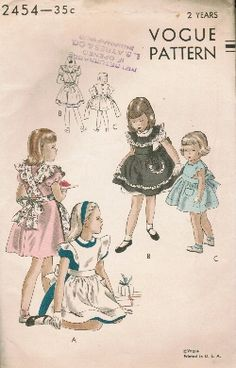 Vintage Fashion Library - Vintage 40s Ruffled Pinafore Apron Bib Scalloped Alice In Wonderland Doll Toddler Party Dress Sewing Pattern Vogue 2454 Size 2