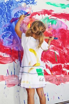 kids wall mural and self painted clothing in one