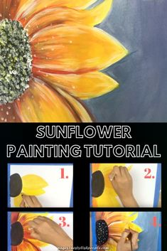 Spectacular Sunflower Portray Tutorial For Newbies Autumn And Halloween, Portray Autumn Fl. Canvas Painting Tutorials, Acrylic Painting Techniques, Painting Lessons, Acrylic Painting Canvas, Diy Painting, Learn Painting, Sunflower Canvas Paintings, Simple Canvas Paintings, Beginner Painting