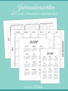Freebie - Kalender - Jahresübersicht 2017 // A5 + Personal