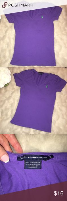 * Polo Ralph Lauren Purple v neck shirt Polo Ralph Lauren purple v-neck short sleeve shirt in a size small. Gently used and in great condition   Check out my closet for bundles!! Polo by Ralph Lauren Tops Tees - Short Sleeve