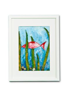 Single Fish Collage Painting In Frame by Natalia Madunicka on Etsy  #art #painting #mixed #fish #collage #gift #present #colourful #frame #decoration #original