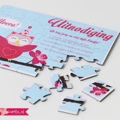 De LocoMix puzzel is een originele manier om vriendjes en vriendinnetjes uit te nodigen voor het kinderfeestje. Al puzzelend komt de boodschap van de uitnodiging tevoorschijn!