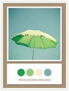 Color Card 091: Emerald, Leaf Green, Cream, Ocean