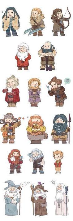 Thorin, Kili, Fili, Balin, Dwalin, Dori, Ori, Nori, Bofur, Bombur, Bifer, Gloin, Oin, Bilbo, Gandalf, Radagast, & Saruman.: