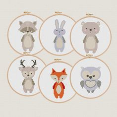 Cute animals modern Cross stitch pattern animal funny cross stitch pattern fox deer bear raccoon owl bunny Enchanted nursery decor ❤ ❤ ❤ You can always find and download them here: You> Purchases and reviews ❤ PATTERN DETAILS ❤ 6 PDF Pattern Fabric: 14 count Aida White Stitches: