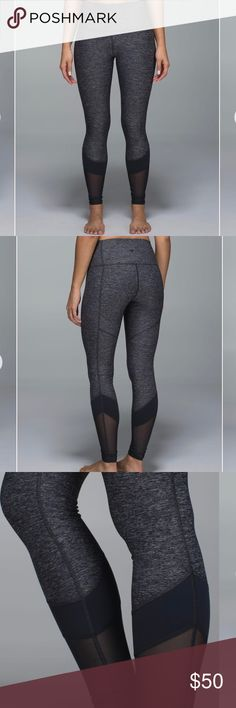 Lululemon If You're Lucky grey leggings with mesh These leggings are my FAVE! Gently worn, super soft and comfortable material. Very flattering cut! Great condition and minimal pilling. lululemon athletica Pants Leggings