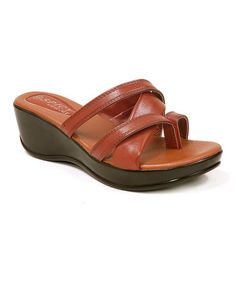 Loving this Brown Toe-Strap Wedge Sandal on #zulily! #zulilyfinds