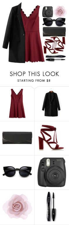 """red dress"" by lindsaysarson ❤ liked on Polyvore featuring RED Valentino, J. Furmani, Gianvito Rossi, Accessorize, Lancôme, women's clothing, women, female, woman and misses"
