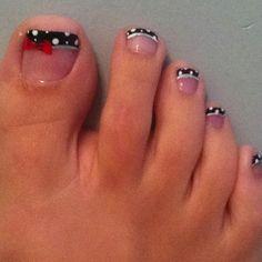 Black w/white polka dots and red bow Pretty Hands, Nail Tech, Pedi, Nail Ideas, Nail Designs, Polka Dots, Nail Art, Bows, Nails