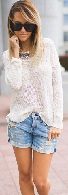 O'neill White Drop Shoulder Open Knit Jumper by Styled Avenue