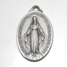 Large Miraculous Medal Antique French Holy Medal, Brushed Silver, Catholic Gift, Virgin Mary, Blessed Mother Catholic Gifts, Blessed Mother, Virgin Mary, Miraculous, French Antiques, Pocket Watch, Faith, Personalized Items, Silver