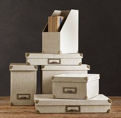 Linen Office Storage Accessories, Sand - traditional - home office products - - by Restoration Hardware Dorm Room Storage, Office Storage, Storage Boxes, Storage Ideas, Easy Storage, Storage Solutions, Vintage Industrial Decor, Industrial Storage, Industrial Style